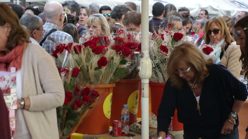 BARCELONA, SPAIN - APRIL 23, 2015: Sant Jordi is Catalan feast day of