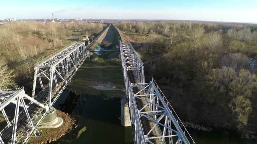 Railway bridge, filming from the top - aerial survey | Shutterstock HD Video #9761966