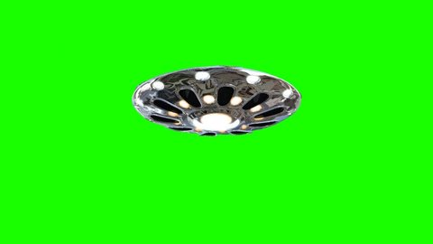 UFO - Flying Saucer - flying in and out - isolated on green screen