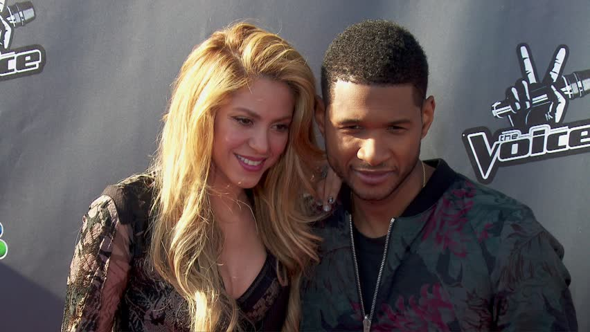 Los Angeles, CA - April 03,2014: Shakira and Usher Raymond at The Voice Season 6 Red Carpet Event, The Sayers Club