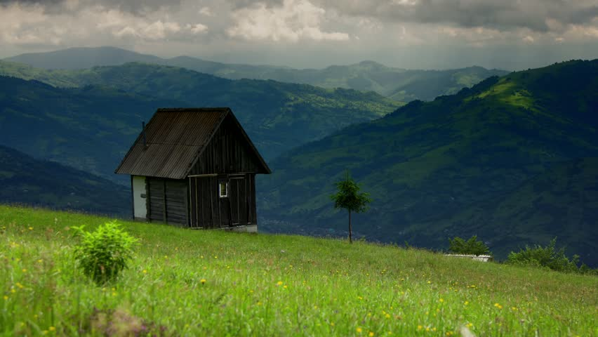 Old wooden house in the middle of mountain forest stock - House in the mountains ...