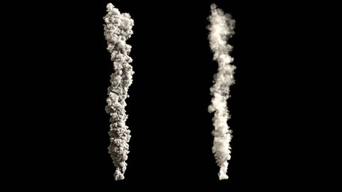 4K rocket, asteroid or meteor trail smokes with two different densities, soft and very dense, isolated on black background, with alpha (uhd, high definition, 4k 3840x2160, 1920x1080, 1080p)