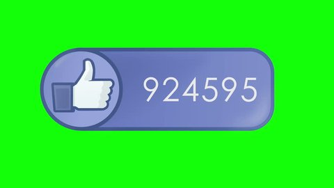 Animation of Social Network Like Counter. Icon at Chroma Key (green background) displays thumbs up and number of thumbs ups that is rapidly changing.