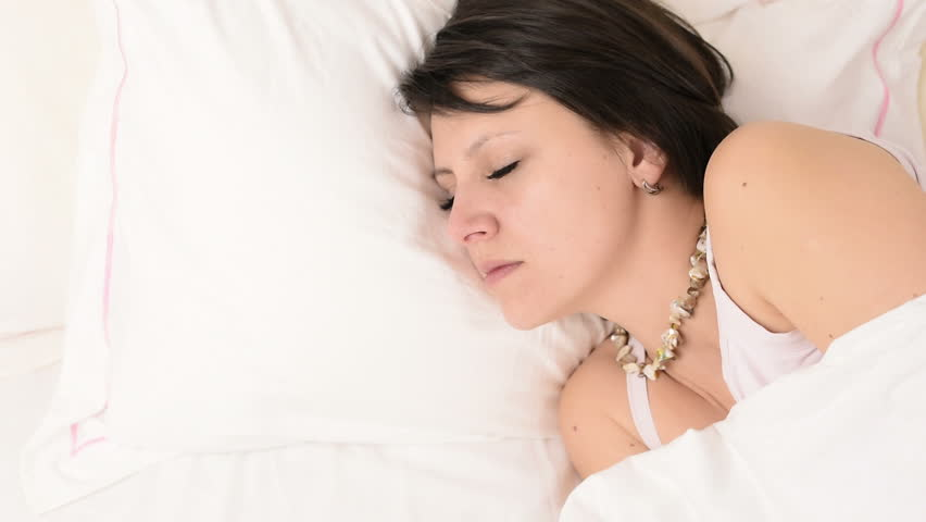 Brunette falls a sleep during