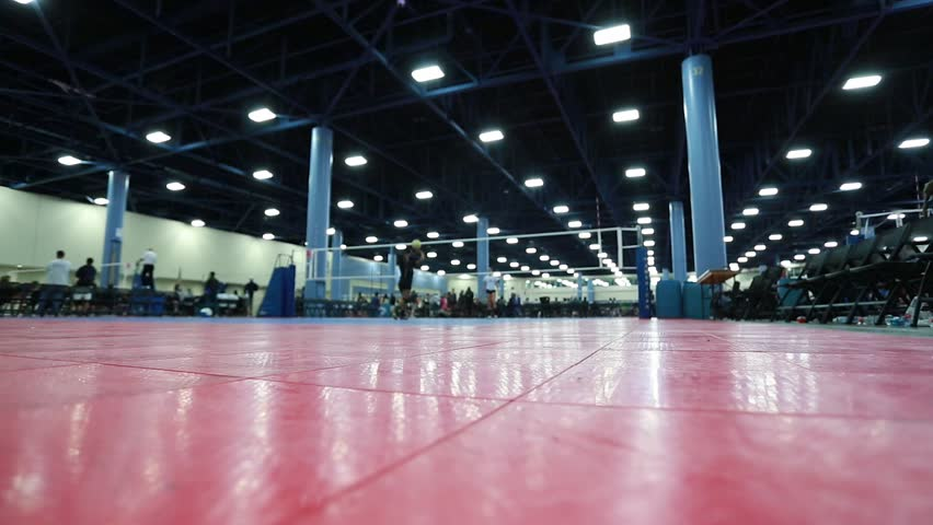 Shot Of An Indoor Volleyball Court With Unrecognizable People ...