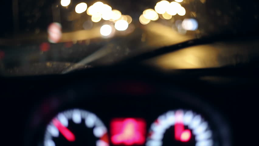 Night highway drunk or falling asleep driver. First person view. Bokeh background | Shutterstock HD Video #9868736