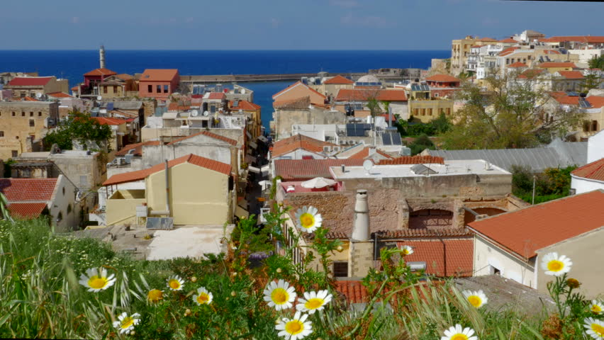 Overlooking Beautiful Chania, Crete: A beautiful vista of Chania on the island of Crete.