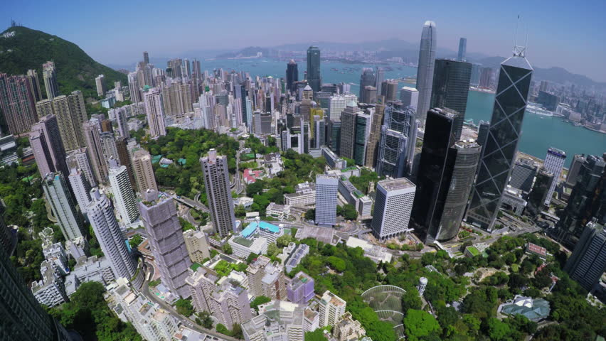 Hong Kong City Aerial. Beautiful Clear Blue Sky.