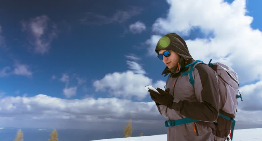 Phone Snow Winter Mobile Nature Jacket Ice Sky Park Portrait Cold People Mountaineer Travel Black Technology Talk Adventure Expedition Man Russia Hat Cap Talking One Cell Men Call Accident Gps