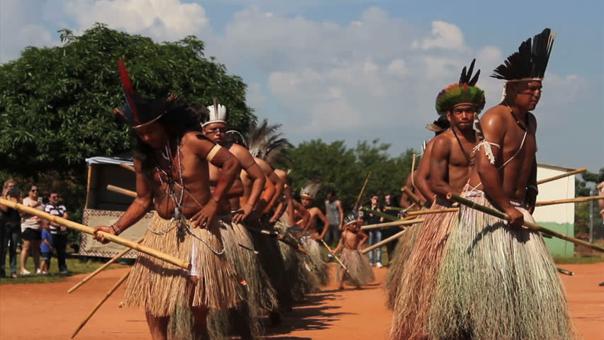 AVAI, BRAZIL. 19th APRIL 2015: Terena Indians dancing to celebrate the indian day. Terena is a brazilian indigenous tribe. In the last Brazil census, 817,000 classified themselves as indigenous.
