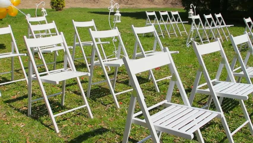 Stock Video Of Wedding Aisle Decor. White Wedding Chairs. | 9915686 |  Shutterstock