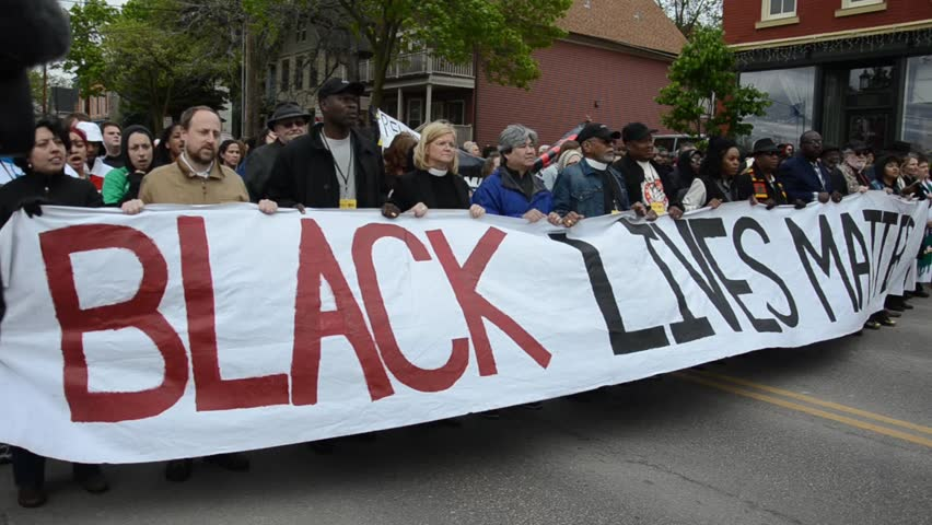 MADISON/WISCONSIN - May 12, 2015 - Crowd protest the announcement that no charges will be filed against officer Kenny.
