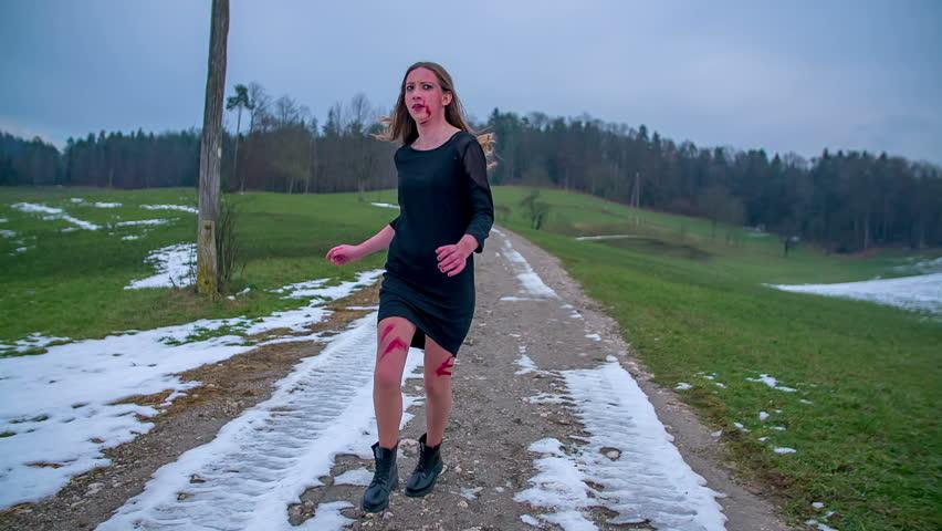Scared running girl