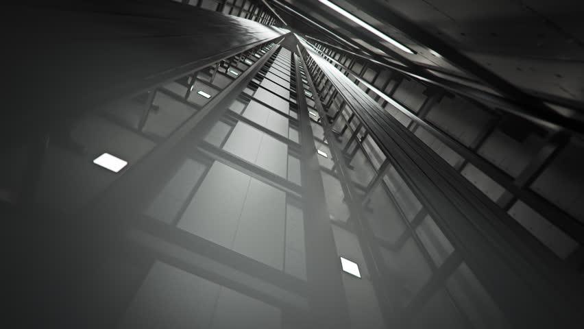 02276 Inside of Elevator Shaft With Moving Elevator.